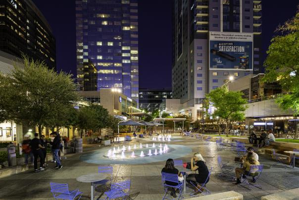 Fountains at CityScape at night