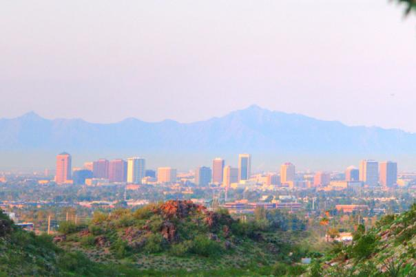 View of the Phoenix cityscape from the Phoenix Mountain Preserve
