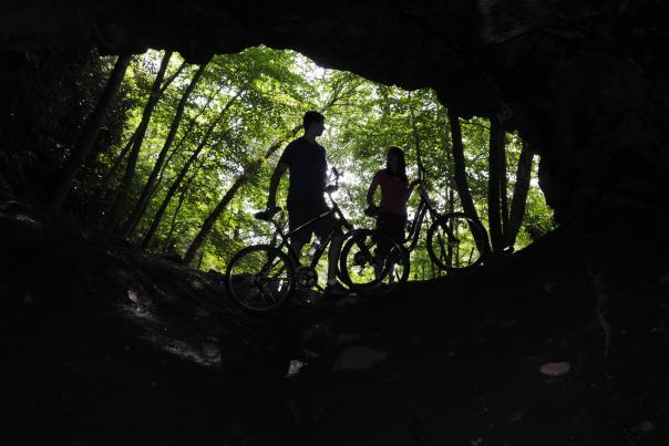 Biking in Lehigh Gorge in the Pocono Mountains
