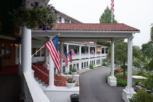 Relax on the beautiful porch at Shawnee Inn and Golf Resort.