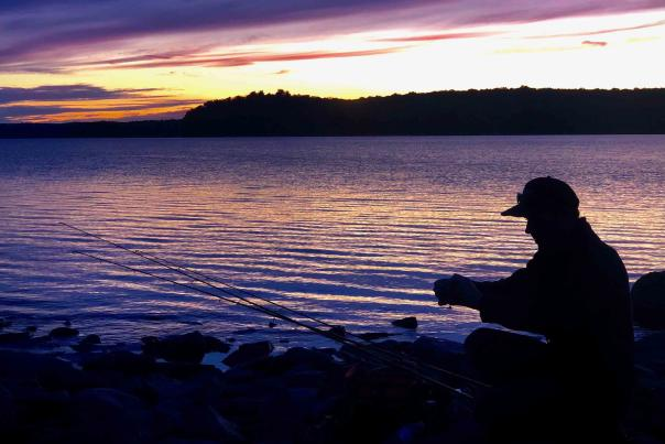 Fishing at Sunset in the Pocono Mountains