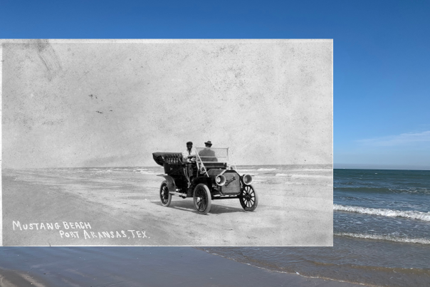 A black and white photo of a vintage car on the beach is overlaid on top of a modern color photo of the beach.