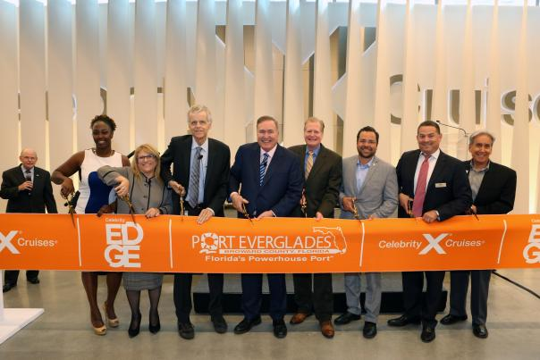Elected officials along with representatives from Port Everglades and Celebrity Cruises cut the ribbon to official open the newly renovated Cruise Terminal 25.