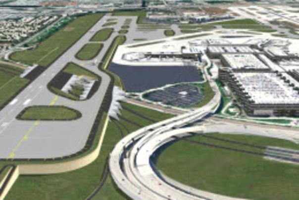 Aerial image of rendering of the south runway at FLL
