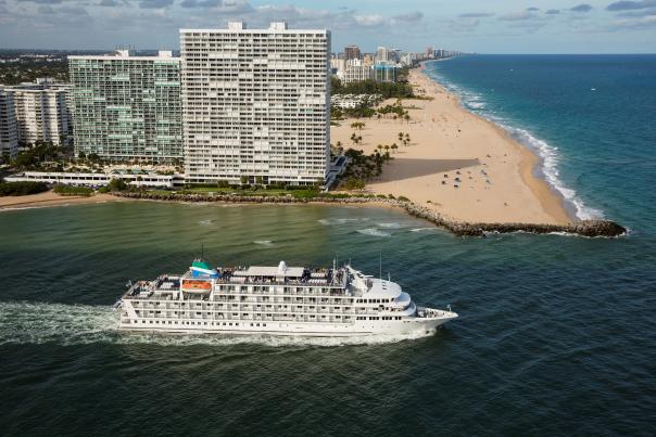 Aerial photo of the cruise ship Pearl Mist leaving Port Everglades