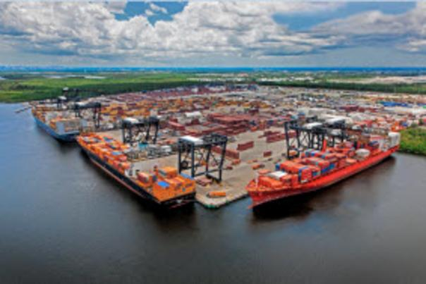 Aerial photo of the Southport cargo area with ships and gantry cranes