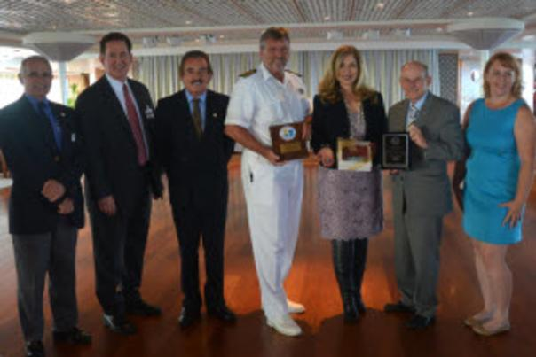 Group photo of Crystal Cruise executive and Port Everglades staff aboard the Crystal Serenity.