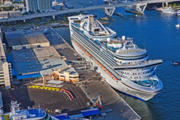 Aerial image of the cruise ship Royal Princess along side Cruise Terminal 2.