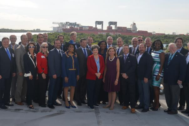 Group photo of elected officials and community leaders at Cruise Terminal 29