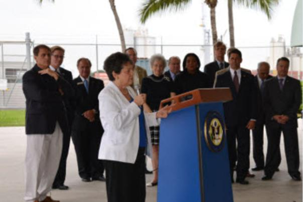 Image of Congresswoman Lois Frankel addressing a press conference.