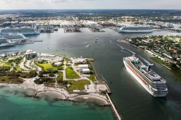 Aerial photo of Carnival Conquest entering the channel