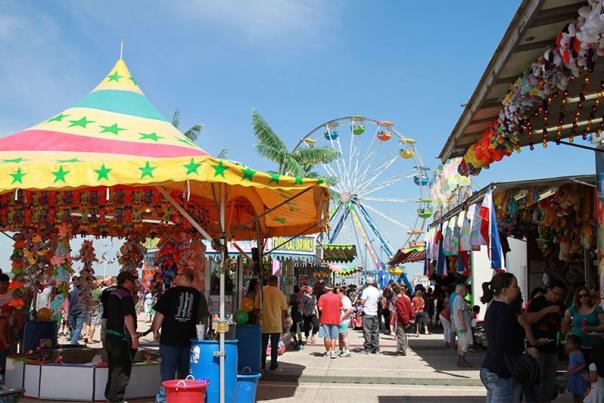 Ferris wheel and concession stands at the Misquamicut Fall Festival