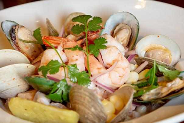 Bowl of clams, mussels and shrimp.