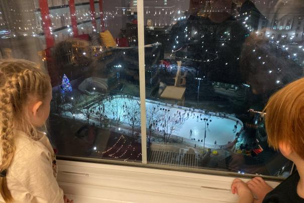 A view of the skating rink from the Graduate Hotel