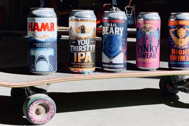 Revival Brewing Cans Of Beer On A Skateboard In Providence, RI