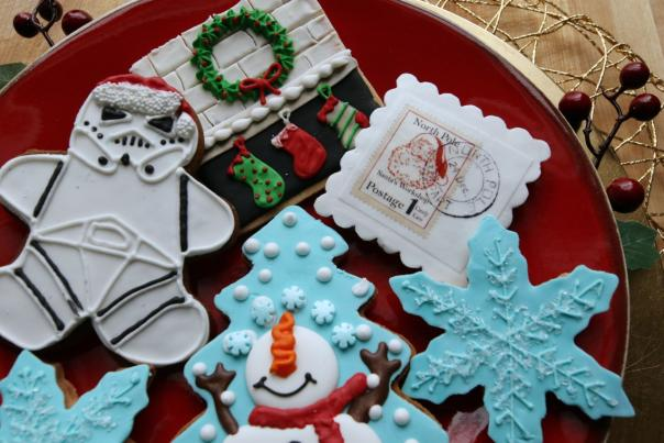 various christmas cookies on a red plate