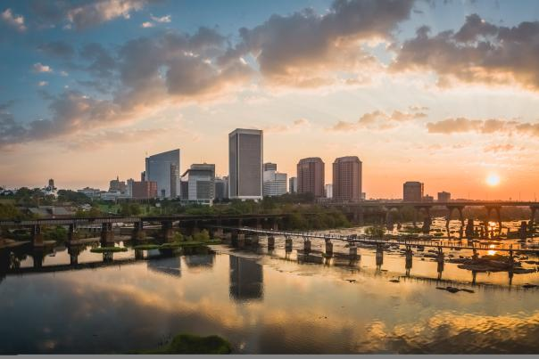 Richmond city skyline sunrise