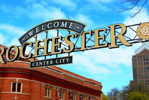 Welcome to Rochester, NY Sign over Center City