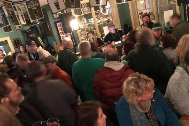 crowd at Barry's Old School Irish Pub