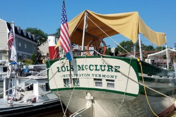 Lois McClure Canal Boat Docked in Fairport