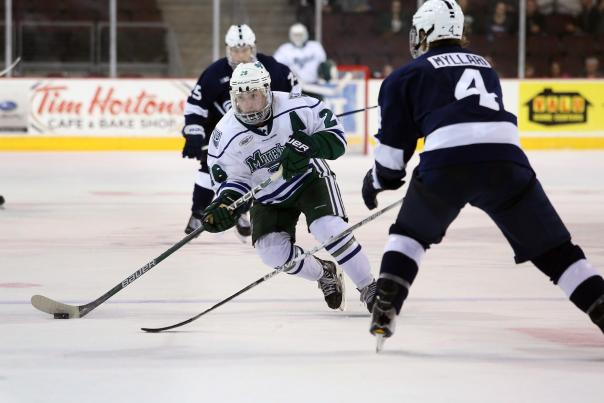Players take to the ice for the Atlantic Hockey Championship