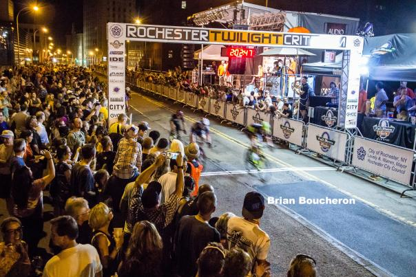 Crossing the finish line at the Rochester Twilight Criterium