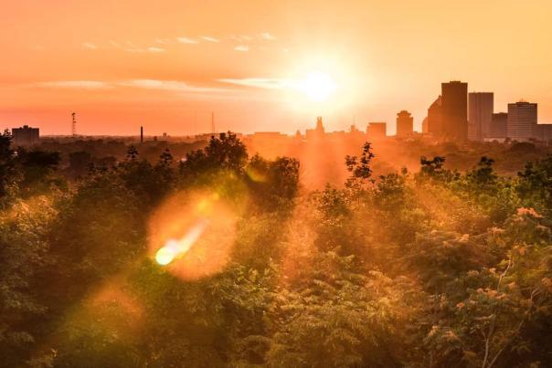 Rochester City Skyline- Rising Sun