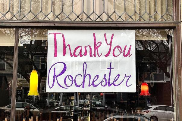 Thank You Rochester Sign in Window