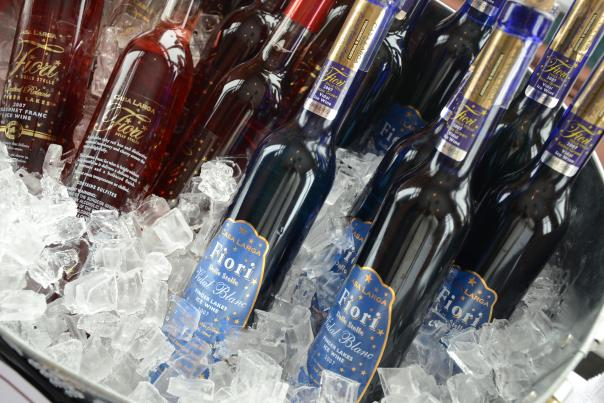 bottles of New York State Ice wine on ice, Rochester, NY