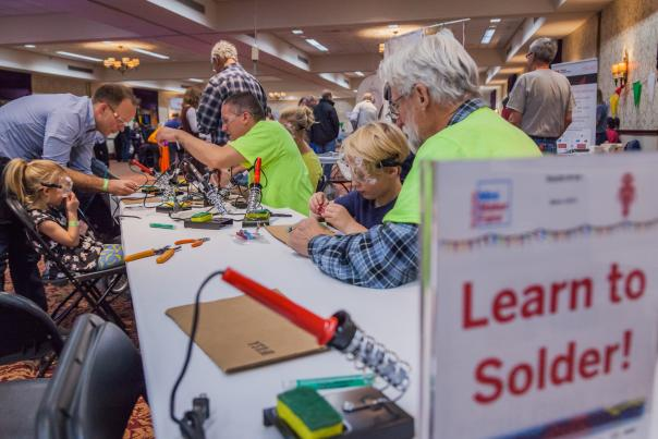 Learn to Solder Station at Rochester Mini Maker Faire 2017