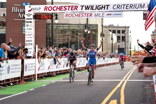 Cyclist Crossing the Finish Line at the Rochester Twilight Criterium