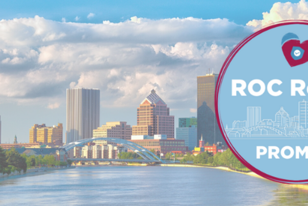 ROC Ready Promise Badge Over Rochester Skyline