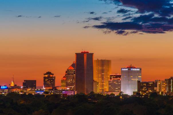 Skyline at dusk, Rochester, NY
