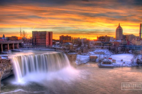 High Falls in Rochester, NY during the winter