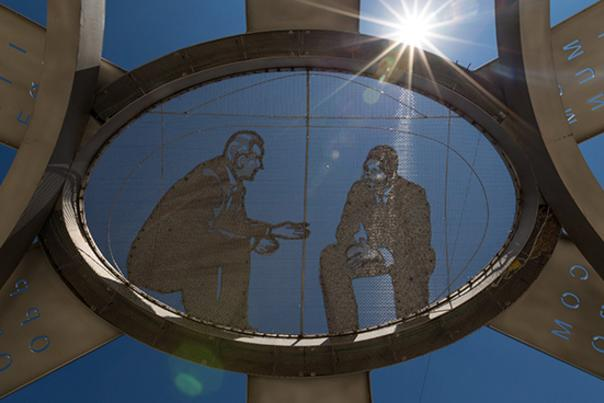 View from underneath the MLK LBJ Crossroads Memorial in Downtown San Marcos