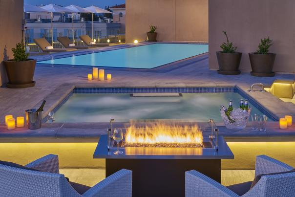Rooftop Pool & Fireplace at The Clement Palo Alto