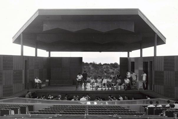 2 Stravinsky on stage for Rake's Progress rehearsal. Photo Laura Gilpin 1957 (2)