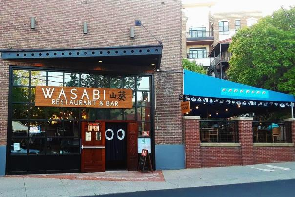 Exterior view of Wasabi restaurant in Saratoga with patio