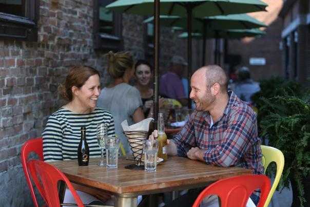 Man and woman enjoying their dinner