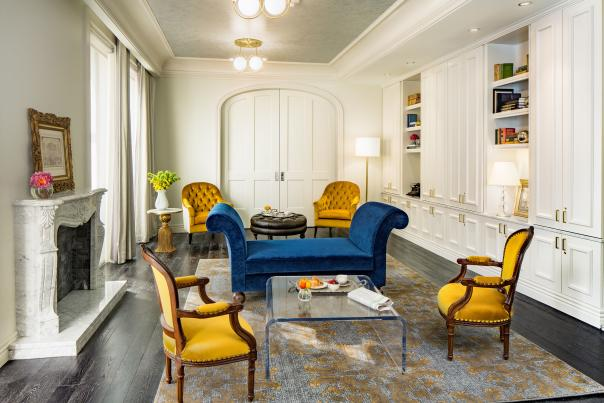 blue, yellow, and white library in a hotel