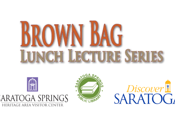 Brown Bag Lunch Lecture Series logo with Visitor Center, Saratoga Library and Discover Saratoga logos
