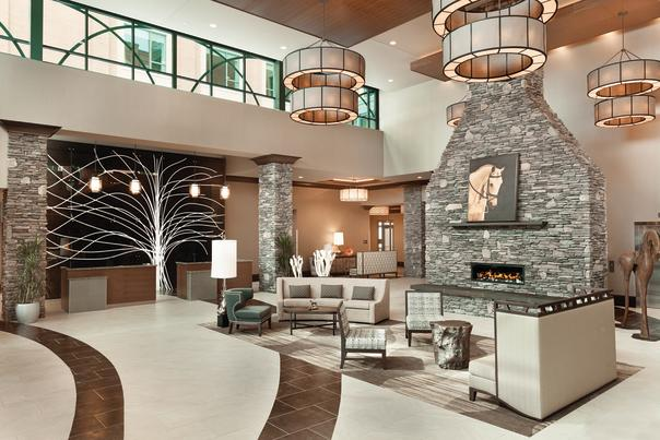 Embassy suites lobby- sitting area and fireplace