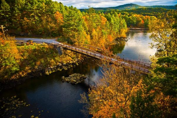 Fall foliage and bridge in Hadley NY