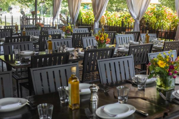 Empty seating at Forno Bistro's patio in Saratoga Springs NY