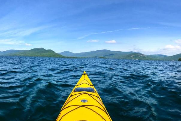 View of Lake George from yellow kayak