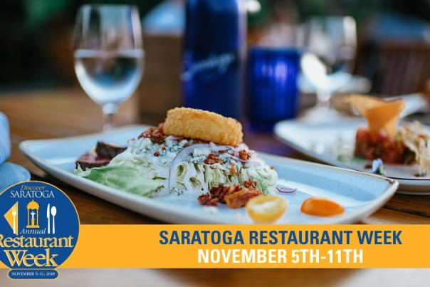 Saratoga Restaurant Week promo picture with logo, date and close shot of meal and water