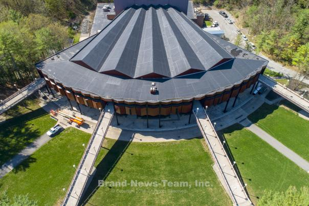 Aerial shot of Saratoga Performing Arts Center (SPAC) in Saratoga NY
