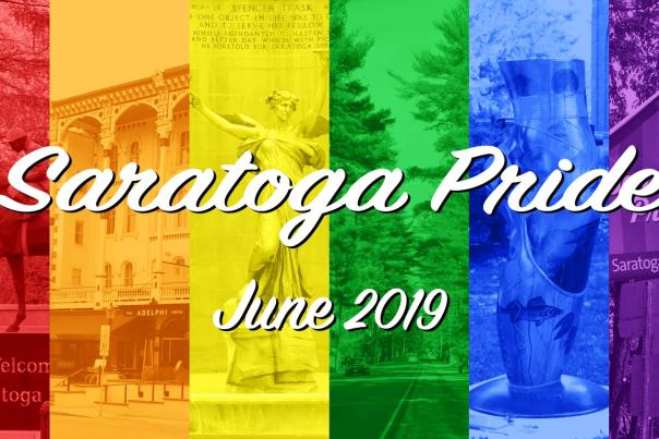 Collage of pictures taken in Saratoga with transparent Pride flag over the images. Saratoga Pride in white on top and June 2019