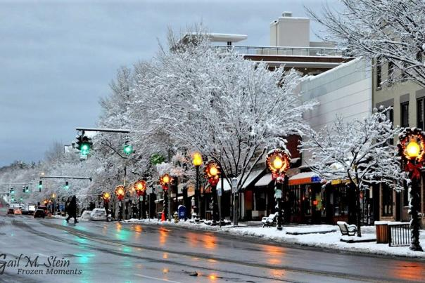 Snowy weather and holiday decorations on Broadway in downtown Saratoga Springs