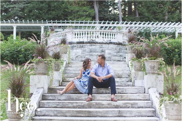 Couple sitting on steps at Yaddo Gardens in Saratoga